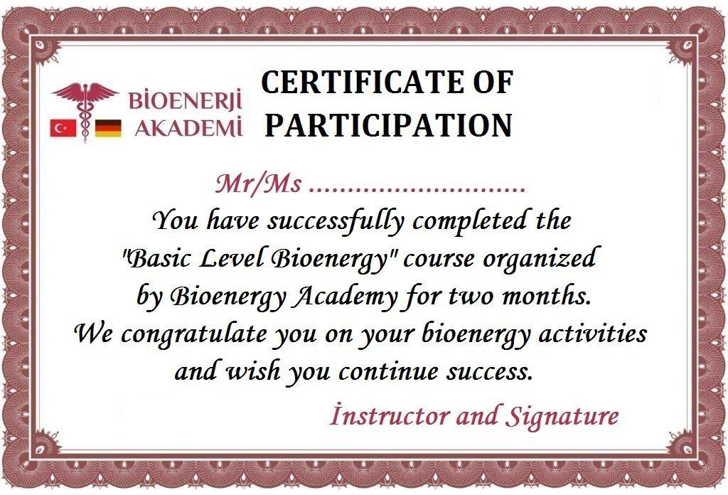 Bioenerji Eğitimi Sertifikası İngilizce
